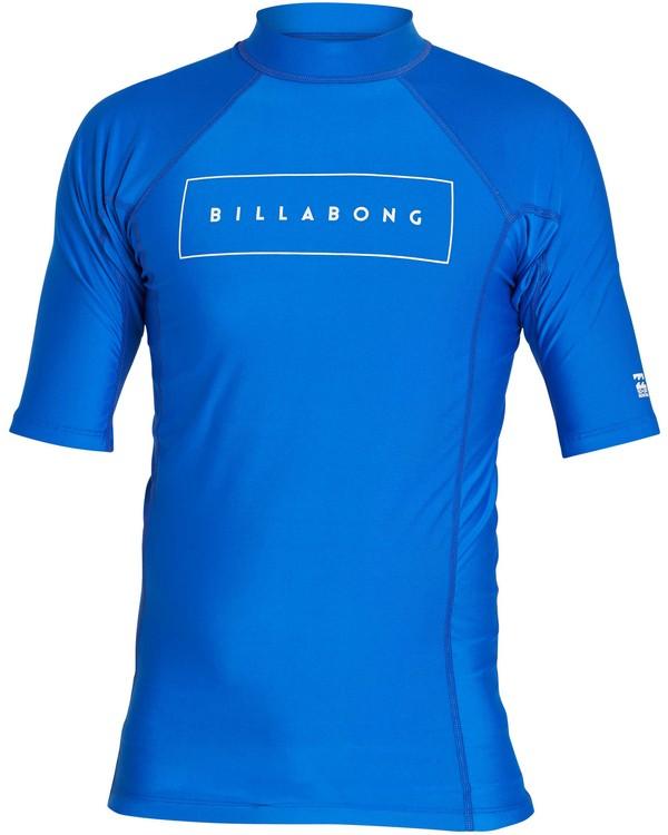 0 All Day United Performance Fit Short Sleeve Rashguard Blue MR12NBAU Billabong