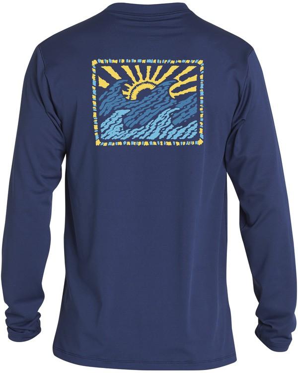 0 Crayon Wave Loose Fit Long Sleeve Rashguard Blue MR593BCW Billabong