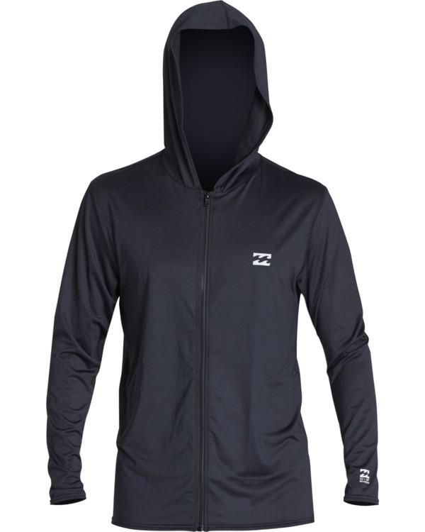 0 All Day Wave Loose Fit Long Sleeve Zip Hooded Surf Shirt Black MR701BAL Billabong