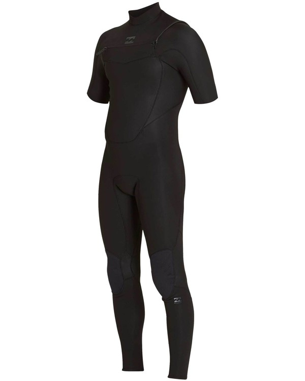 0 202 Absolute Comp Chest Zip Short Sleeve Springsuit Black MWFUNBC2 Billabong