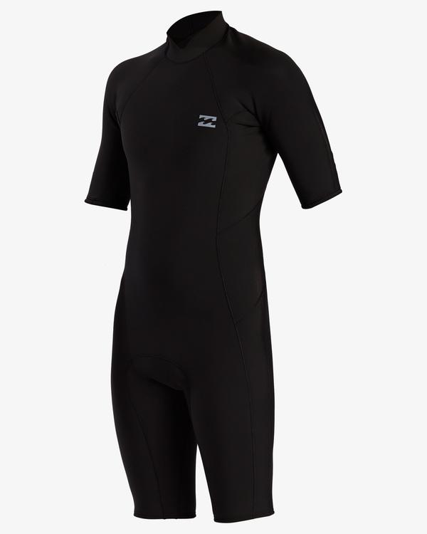 0 2/2 Absolute Back Zip Short Sleeve Flatlock Spring Wetsuit Black MWSP3BAB Billabong
