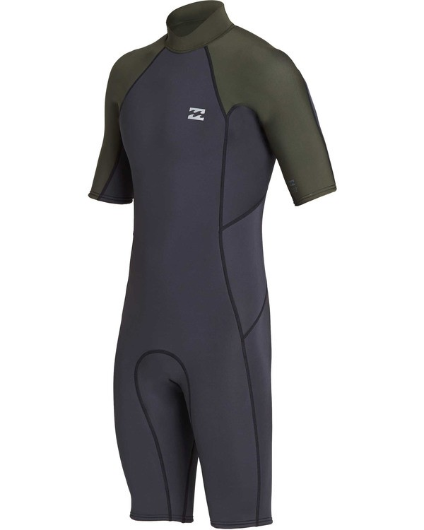 0 2mm Absolute Back Zip Short Sleeve Flatlock Spring Suit Black MWSPTBAB Billabong
