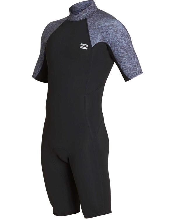 0 2mm Absolute Back Zip Short Sleeve Flatlock Spring Suit Grey MWSPTBAB Billabong