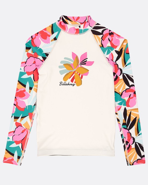 0 Girls' Flower Long Sleeve Rashguard Amarillo N4KY04BIP9 Billabong