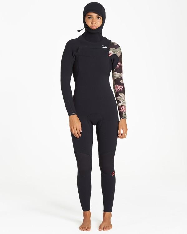 0 5/4mm Furnace Carbon Hd - Chest Zip Hood Neoprenanzug für Frauen Schwarz Q45G06BIF9 Billabong