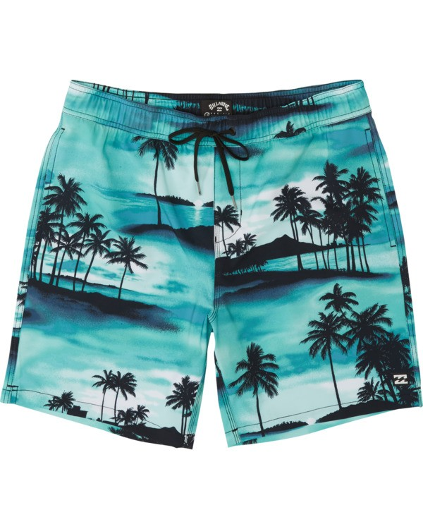 "0 Sundays Pigment Laybacks 17"" - Elastic Waist Board Shorts for Men Blue S1LB02BIP0 Billabong"