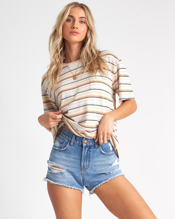 0 Lover - Camiseta con bolsillo de rayas para Mujer Multicolor S3KT03BIP0 Billabong