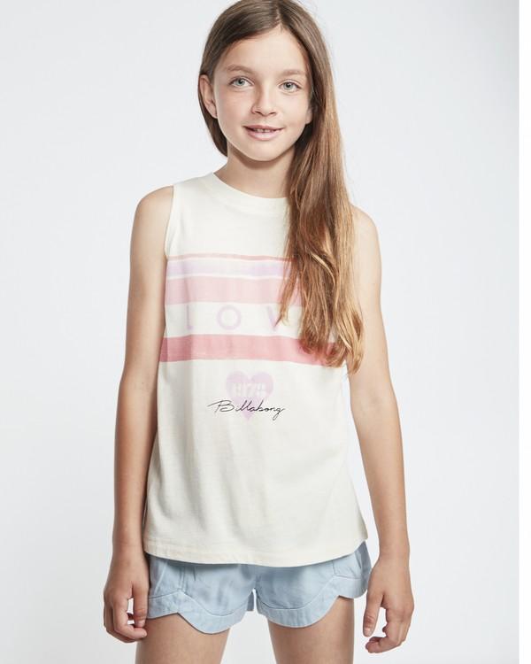 0 Love Stripe - T-Shirt for Teen Girls White S8TT03BIP0 Billabong
