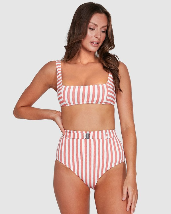 0 Cassy Stripe Square Bralette Bikini Top Grey UBJX300108 Billabong