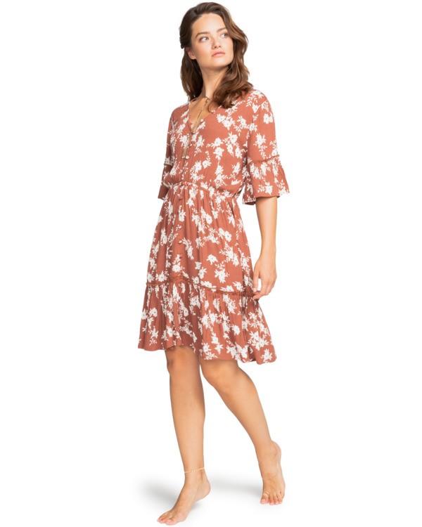 0 Love Game - Plunge Neck Dress for Women Brown W3DR23BIP1 Billabong