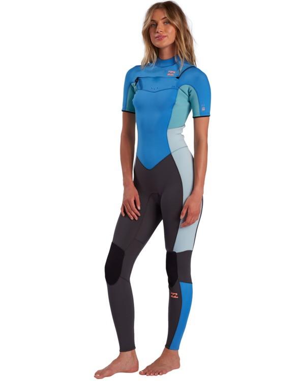 0 2/2mm Synergy - Short Sleeve Chest Zip Springsuit for Women Blue W42G57BIP1 Billabong