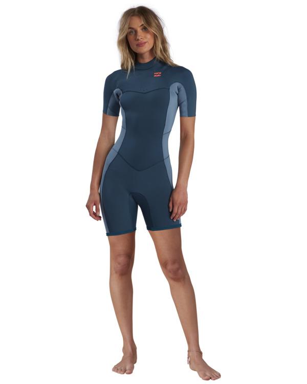 0 2/2mm Synergy - Short Sleeve Back Zip Springsuit for Women Blue W42G60BIP1 Billabong