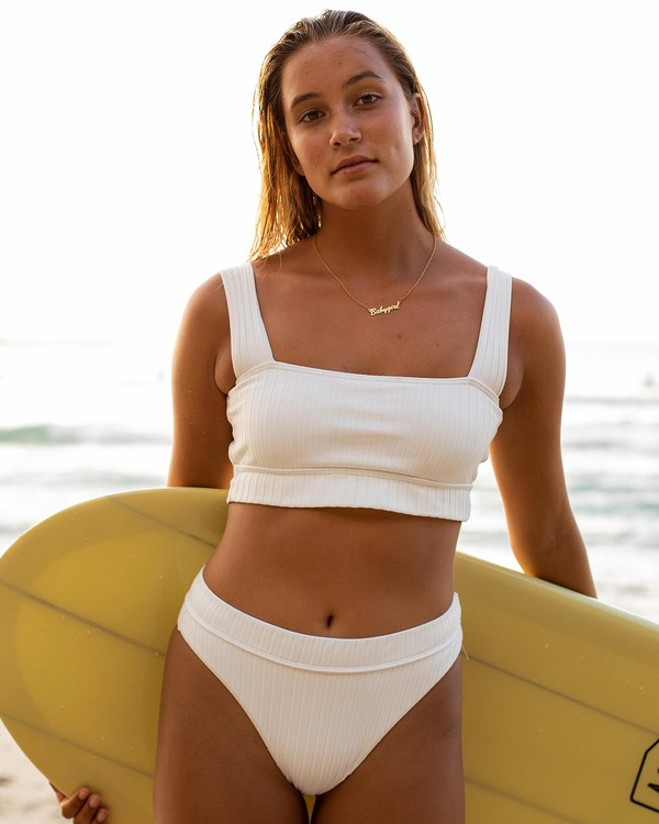 0 Sunny Rib Square Neck Bikini Top White XT11UBSU Billabong