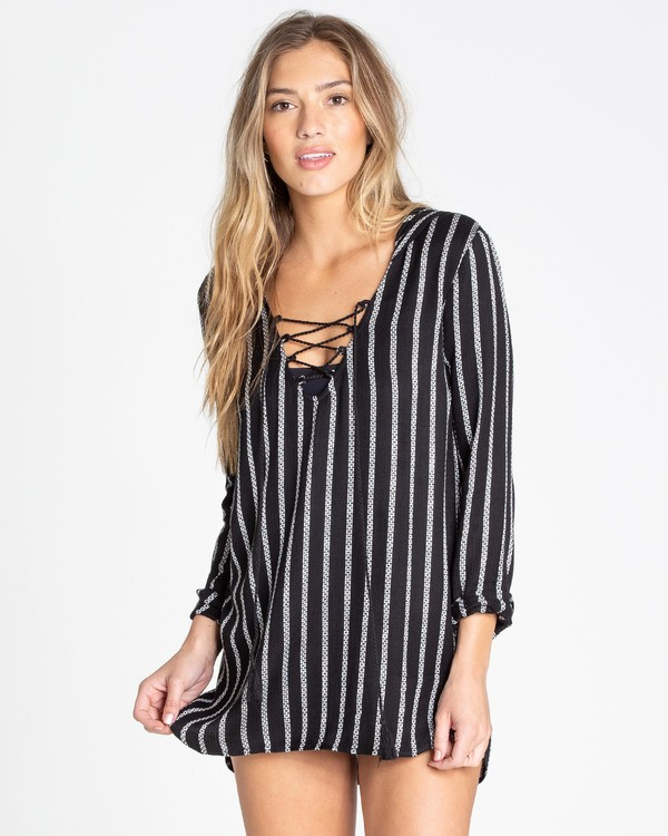 0 Same Story Hooded Swim Cover Up Black XV02TBSA Billabong