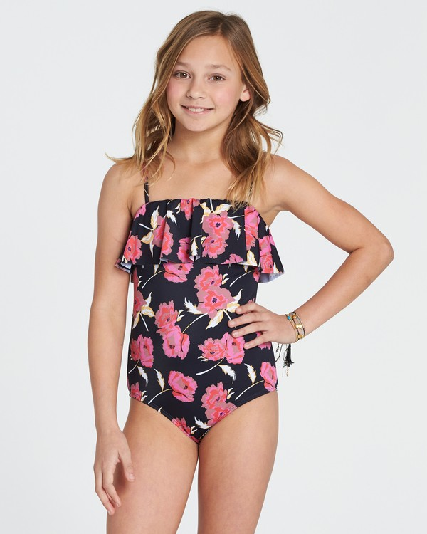 0 Girls' Floral Dawn One Piece Swim Black Y103SBFL Billabong