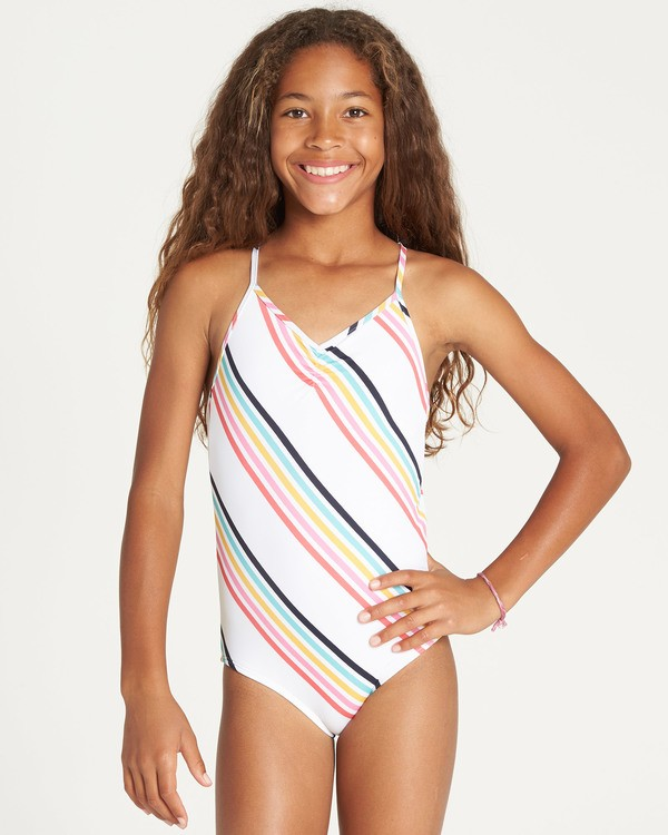 0 Girls' Seeing Rainbows One Piece Swim Grey Y111TBSE Billabong