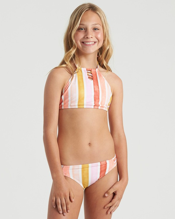 0 Girls' So Stoked High Neck Bikini Set Grey Y2063BSO Billabong