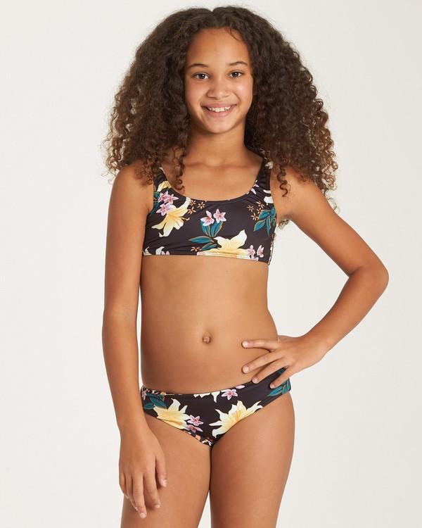 0 Girls' Wild Side Tie Tank Swim Set Grey Y212WBWI Billabong