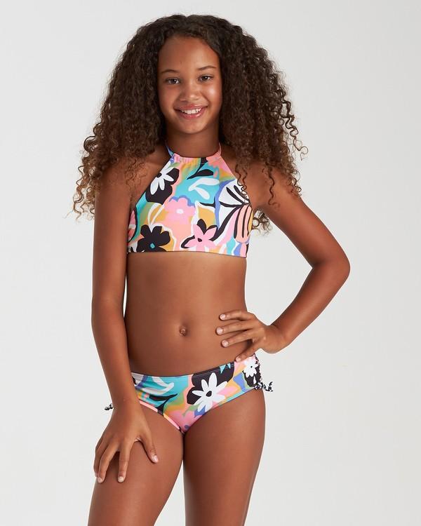 0 Girls' On And On High Neck Reversible Swim Set Grey Y2192BON Billabong