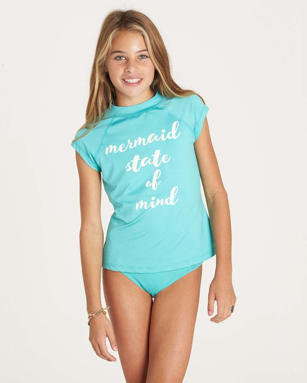 0 Girls' Sol Seacher Short Sleeve Rashguard Green YR01LSOL Billabong