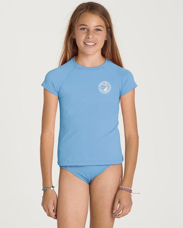 0 Girls' Stay Salty Short Sleeve Rashguard Blue YR01NBSO Billabong