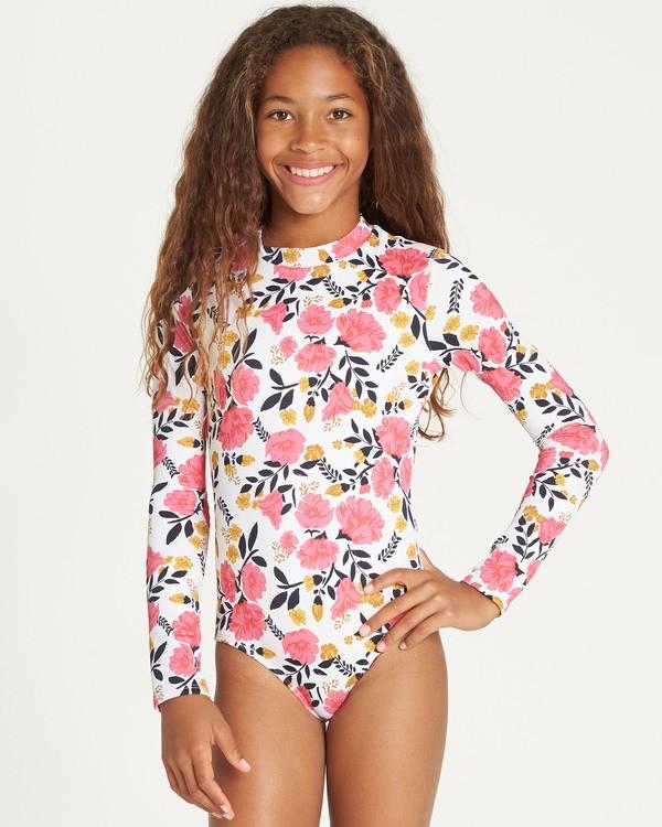 0 Girls' Sun Dream Bodysuit Rashguard Grey YR05TBSU Billabong
