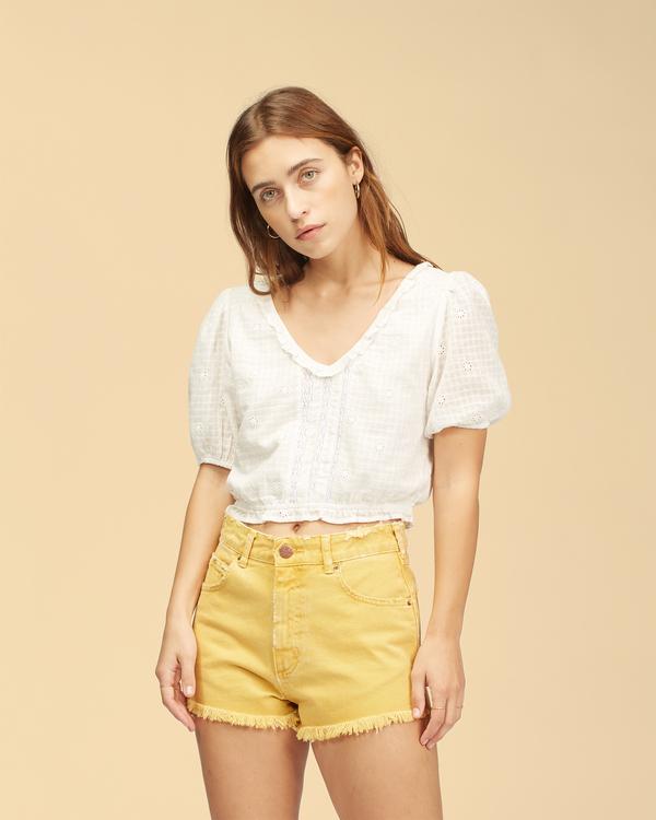 0 Wrangler Showdown - Short en jean taille haute pour Femme Jaune Z3WK04BIF1 Billabong