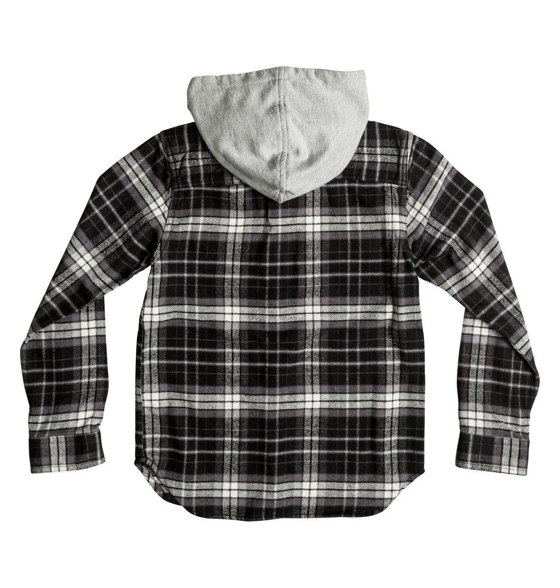 fbeda903afe1 1 Boy's 8-16 Runnels Flannel Hooded Long Sleeve Shirt Black EDBWT03018 DC  Shoes