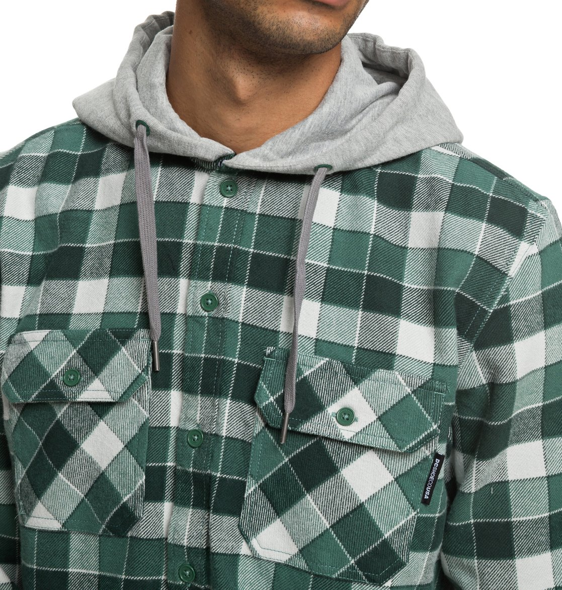 03d070980ab4 DC Shoes™ Runnels Long Sleeve Hooded Flannel Shirt EDYWT03201 | eBay