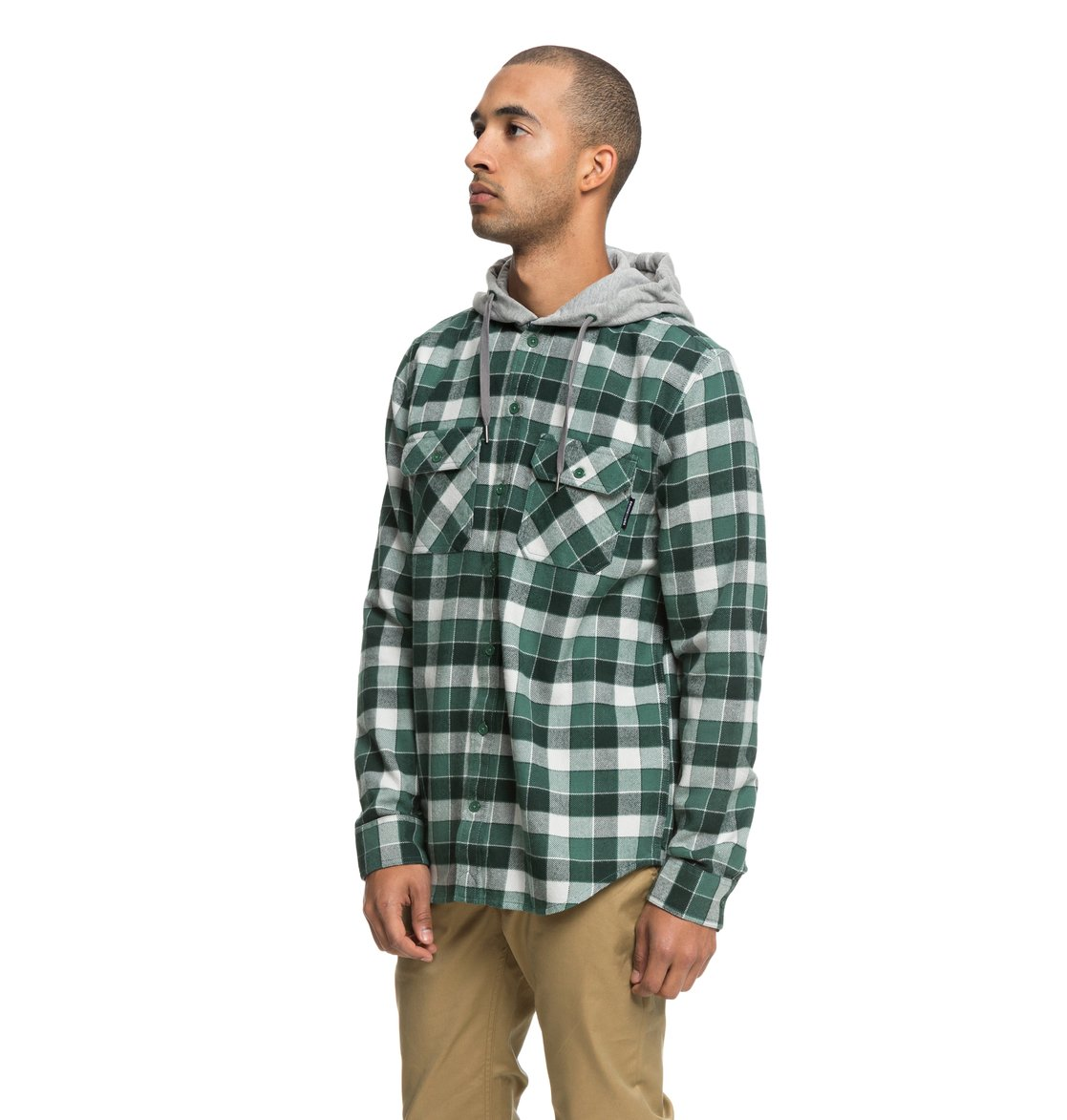 260ed7a43b 1 Runnels - Long Sleeve Hooded Flannel Shirt Green EDYWT03201 DC Shoes