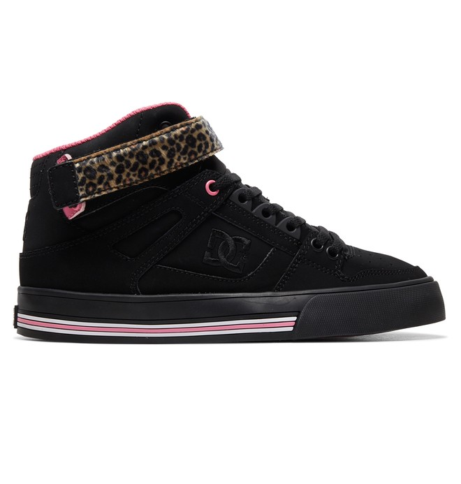 0 Women's Pure High Top V High Top Leather Shoes Black ADJS400012 DC Shoes