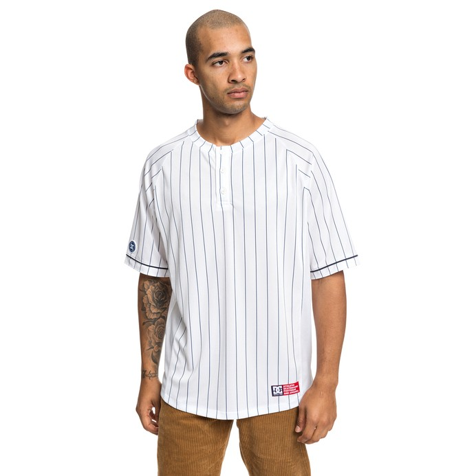 0 Skate Short Sleeve Baseball Jersey White ADYKT03128 DC Shoes