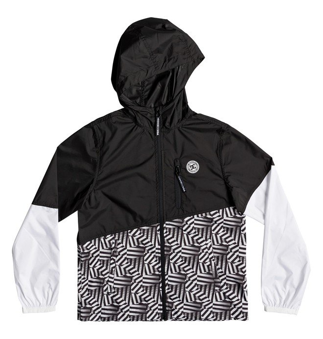 0 Boy's 8-16 Dazzle Dagup Water-Resistant Hooded Windbreaker Black EDBJK03042 DC Shoes