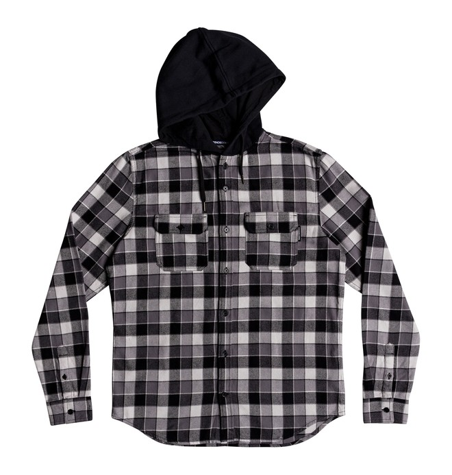 0 Boy's 8-16 Runnels Long Sleeve Hooded Flannel Shirt Black EDBWT03046 DC Shoes