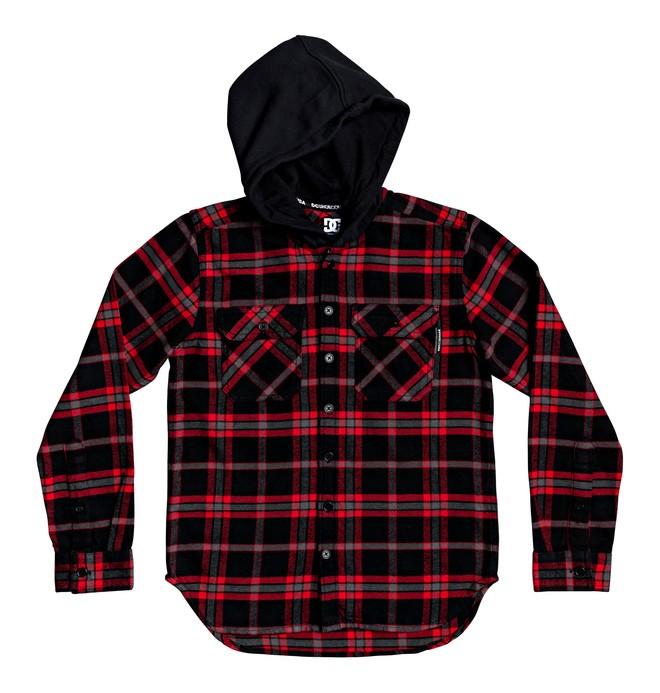 0 Boy's 8-16 Runnels Long Sleeve Hooded Flannel Shirt  EDBWT03046 DC Shoes