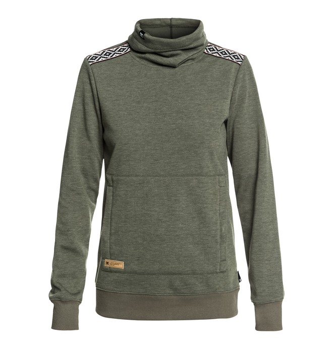 0 Women's Veneer Technical Roll Neck Sweatshirt Green EDJFT03059 DC Shoes
