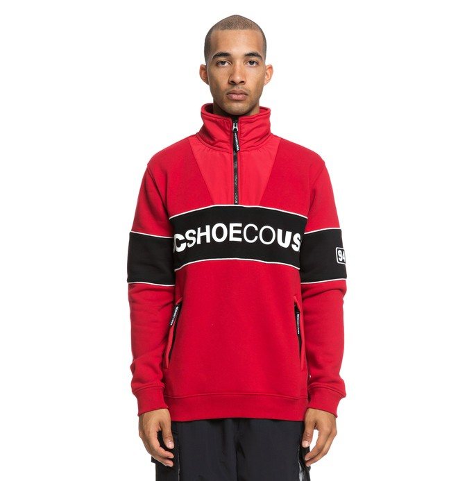 0 Clewiston Mock Half Zip Mock Neck Sweatshirt Red EDYFT03391 DC Shoes