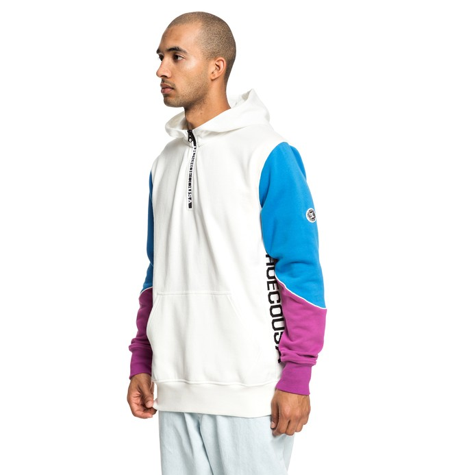 0 Glynroad - Sweat à capuche demi-zip pour Homme Blanc EDYFT03430 DC Shoes