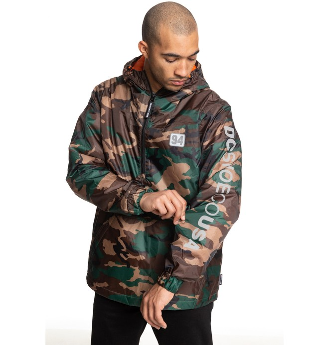 0 Bolam Camo Water Resistant Half Zip Anorak Green EDYJK03184 DC Shoes