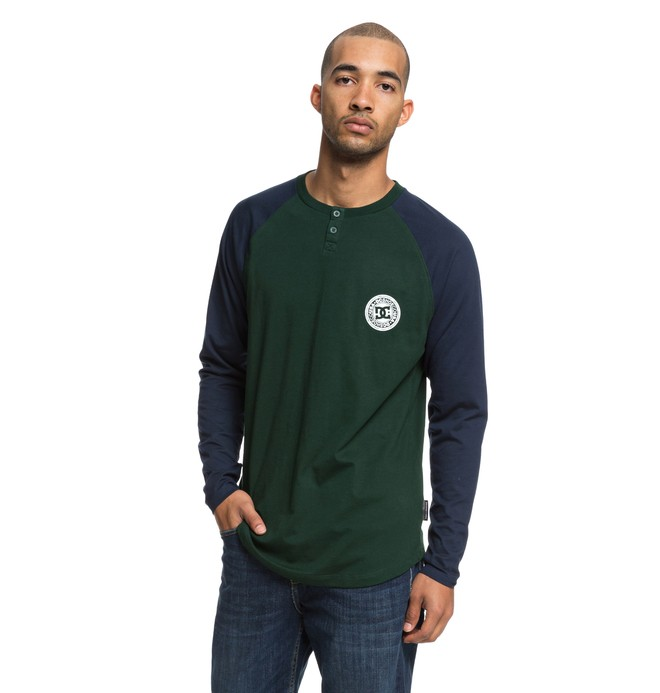 0 Basic Long Sleeve Henley Top Green EDYKT03414 DC Shoes
