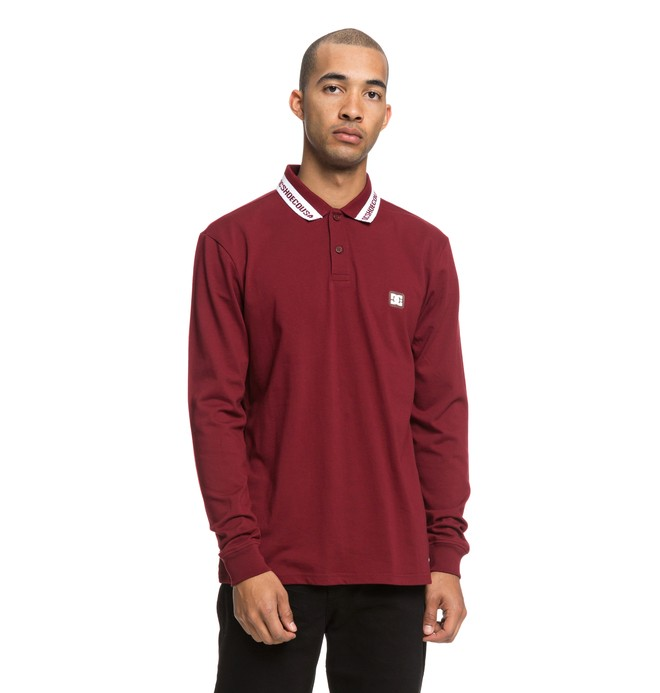 0 Brookings Long Sleeve Polo Shirt Red EDYKT03425 DC Shoes