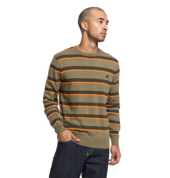 0 Sabotage Stripe - Pull col rond pour Homme Vert EDYSW03034 DC Shoes