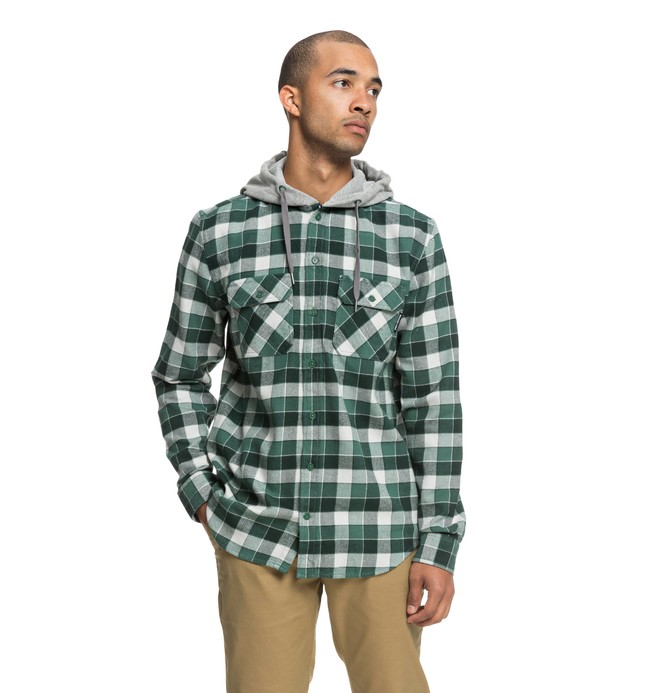 0 Runnels Long Sleeve Hooded Flannel Shirt Green EDYWT03201 DC Shoes