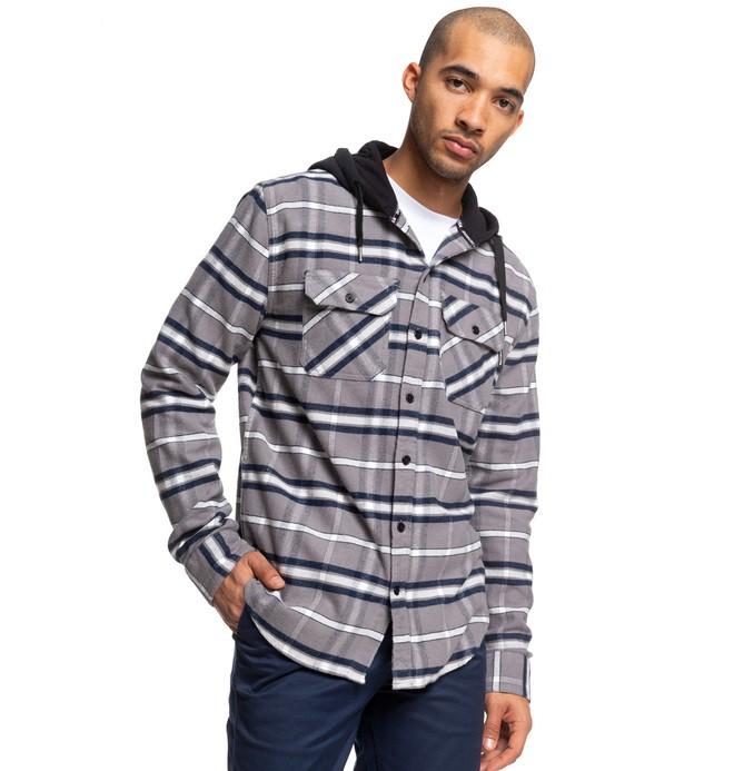 0 Runnels - Camisa de franela de manga larga con capucha para Hombre Negro EDYWT03201 DC Shoes