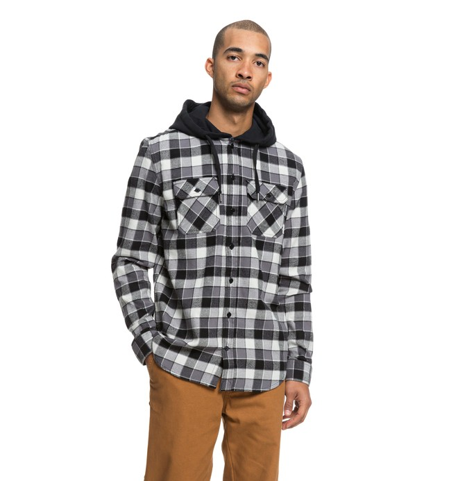 0 Runnels Long Sleeve Hooded Flannel Shirt Black EDYWT03201 DC Shoes