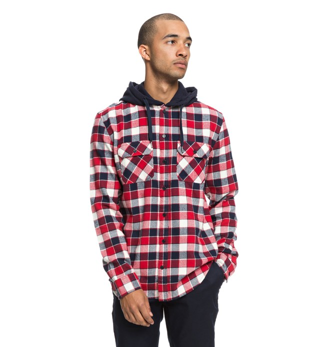 0 Runnels Long Sleeve Hooded Flannel Shirt Red EDYWT03201 DC Shoes