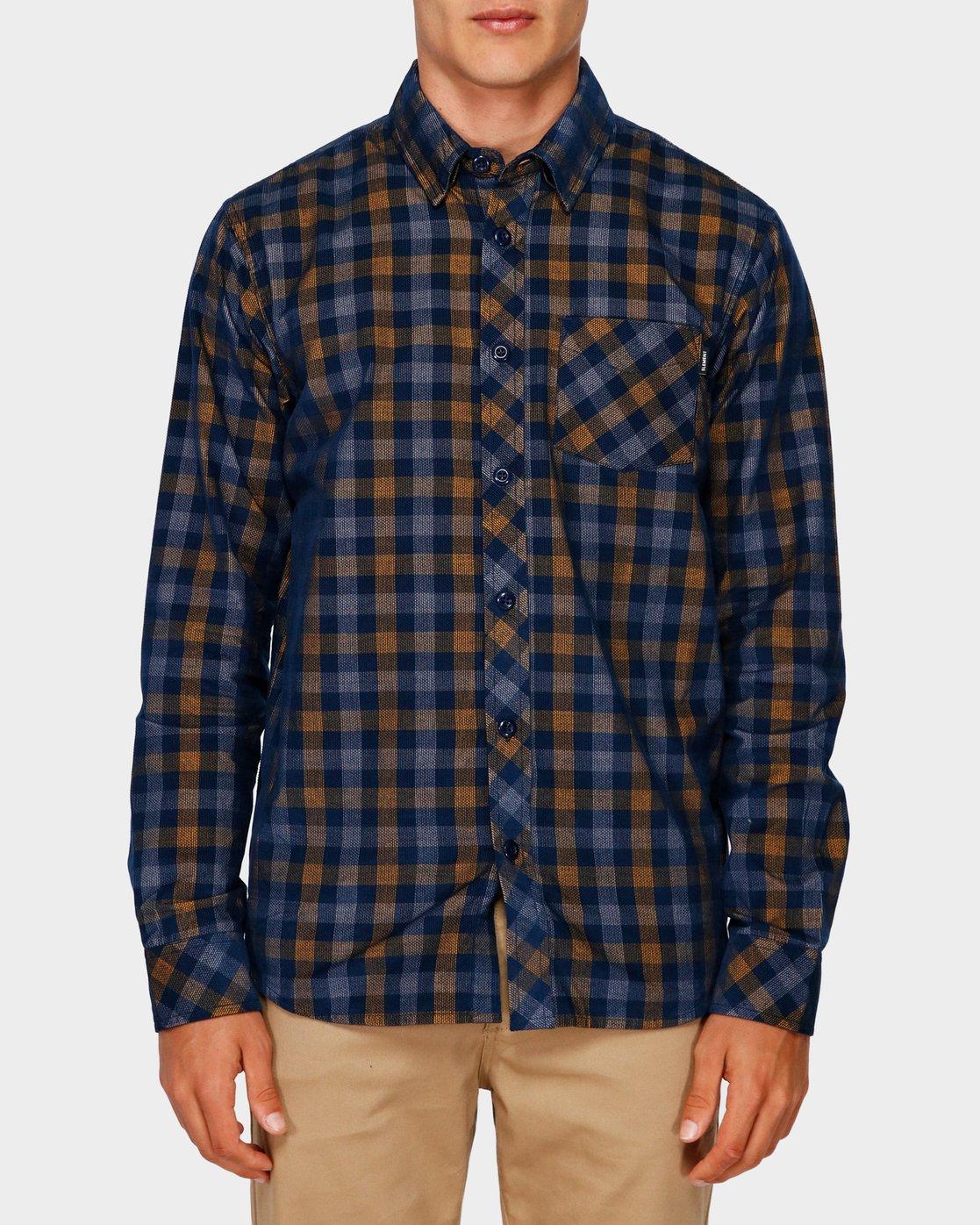 0 Freeway Plaid Long Sleeve Shirt Blue 193216 Element