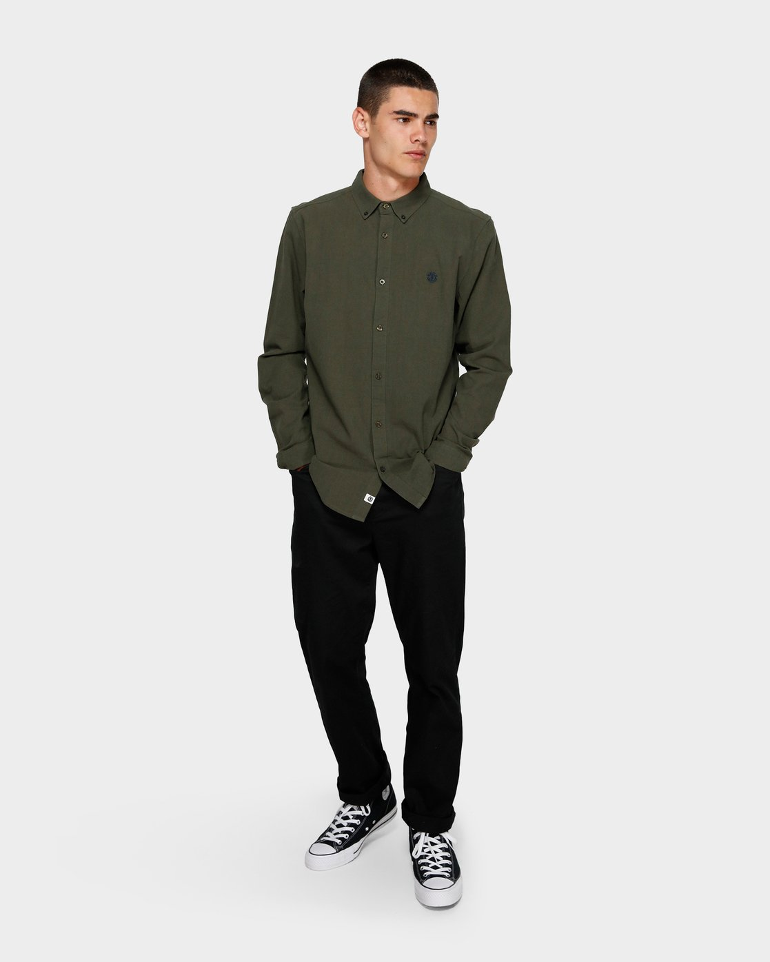 3 Icon Crisp Long Sleeve Shirt Green 193218 Element