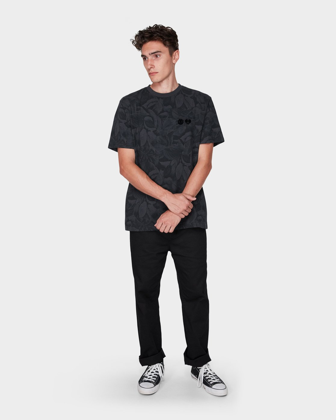 3 GRIFFIN LEAF CAMO SS TEE Black 196031 Element