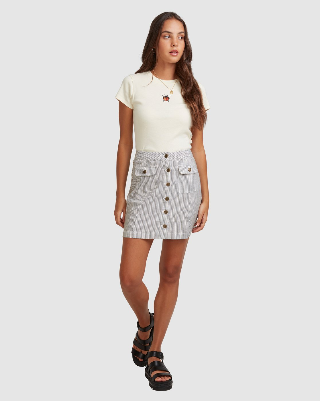 4 EDIE STRIPE SKIRT White 217852 Element